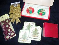 Christmas Lot Spode Coasters Trees Gold Glitter Bows Napkin Rings Super Nice