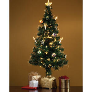 3 Foot Musical Spinning Fiber Optic Decorated Stars & Ornaments Christmas Tree