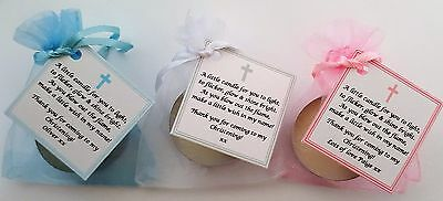 personalised name BAPTISM FAVOURS vanilla candle tealights 10 X CHRISTENING