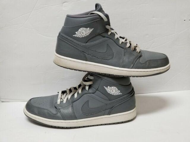 b7da7ca30c5aa Nike Air Jordan 1 Mid Cool Grey White #554724 003 Men Shoes Size 11 ...