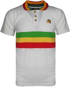 7ca306462c Men's Rasta Polo Bold Striped T Shirt Short Sleeves With Lion Of ...