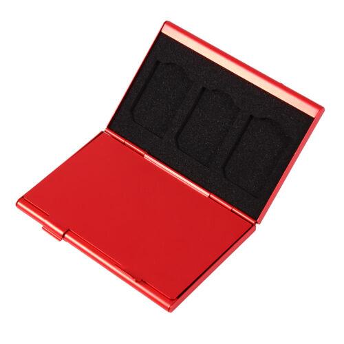 Rojo Metal Aluminio Micro SD TF Tarjeta de memoria MMC Caja de almacenamiento piernas Estuche Soporte