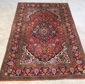 Ancien Tapis Persan Ispahann 218x146cm Noué Main Carpet Tappeto Teppiche Rugs CaractéRistiques Exceptionnelles
