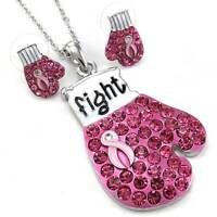Pink Ribbon Breast Cancer Awareness Boxing Gloves Necklace Pendant Earrings Q2