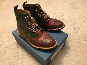 Details zu Preowned 2013 Mark McNairy Crazy Mix Brogue Boots US 8 RARE leather suede