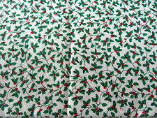 Patchwork coupon tissu coton américain Houx sur fond blanc 55 cm x 55 cm NOEL