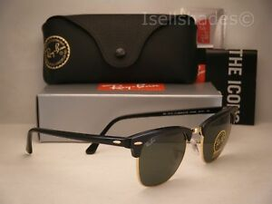 607a2e6729 Ray Ban CLUBMASTER (RB3016-W0365 49) Ebony  Arista with Green Lens ...