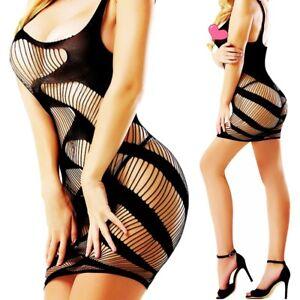 77437284fc Image is loading Bodystocking-Fishnet-Bodysuit-Nightwear-Lingerie-Dress -Style-Teddy-