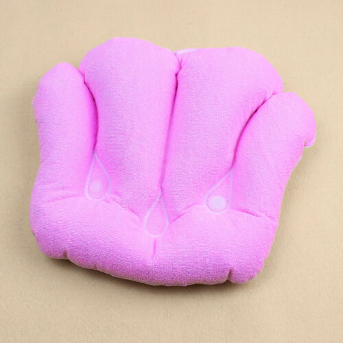 Shell Shape Inflatable Bath Pillows Terrycloth /& Vinyl Covering Blue White Pink