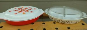 Set of 2 Vintage MCM Pyrex Casserole Divided Dishes w/ Lids-Unused Condition