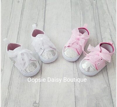 Baby Girls Soft Pram Shoes Booties White Pink Glitter Sequin Bear Trainers 6-15M