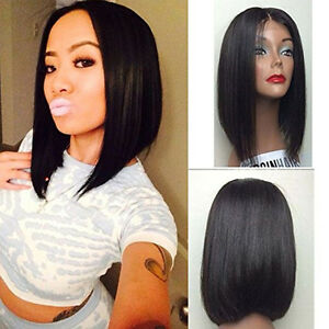 Short Bob Haircuts Natural Black Lace Front Wig Heat Resistant