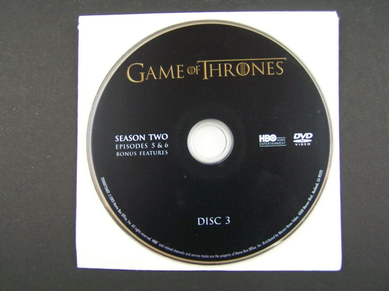 Game Of Thrones Season 2 Disc 3 Replacement DVD