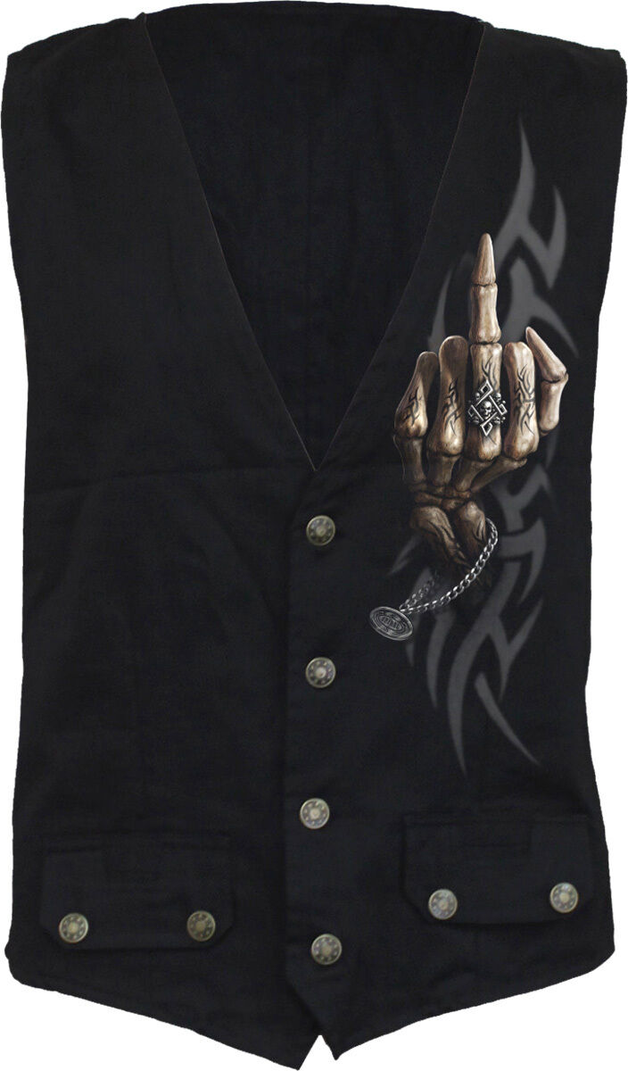 SPIRAL DIRECT BONE FINGER Waistcoat Reaper Skeletons Bone Top Tee Skull Biker