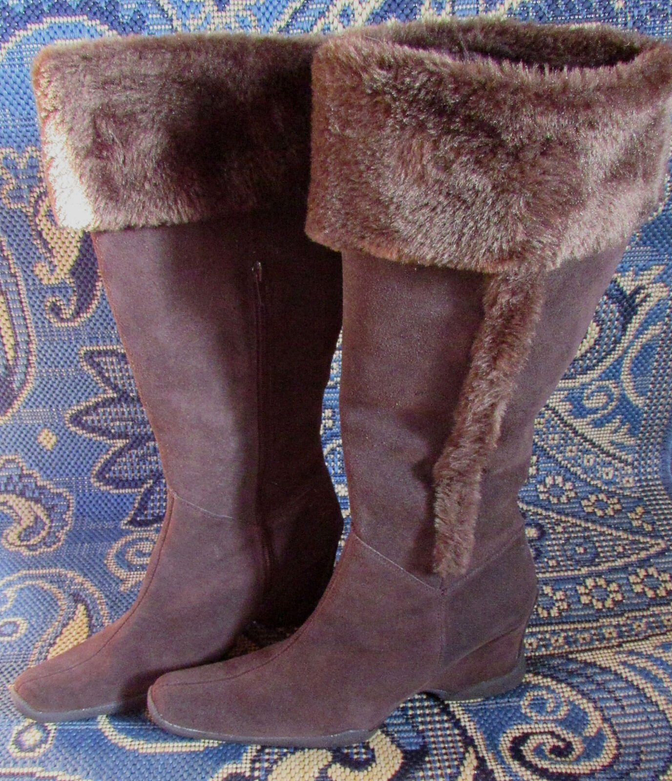 Vintage Pazzo Brand Braun Suede Shearling Wedge Stiefel Größe 10M NWOB