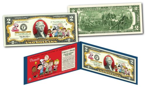 PEANUTS $2 U.S Woodstock Snoopy Charlie Brown /& Gang with Franklin Bill