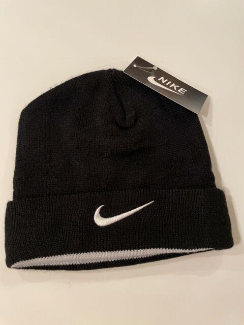 Nike Beanie Black Hat Logo Swoosh One Size Winter Cap Unisex Warm NWT