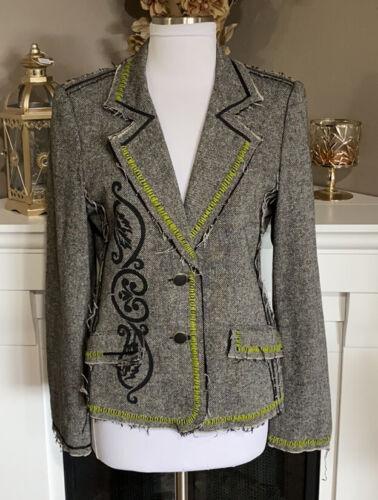 Cache Stitched Distressed Tweed Blazer Size L