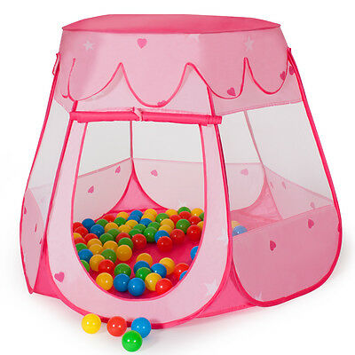 Childrens Kids Baby Tent Ball Pit Playhouse pop up + 100 balls + bag pink