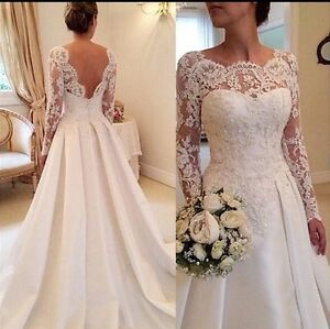 ec084064556 UK Plus Size White ivory Long Sleeve Lace A Line Satin Wedding ...