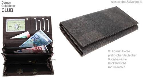 Geldbörse ALESSANDRO CLUB XL Damenbörse Damengeldbeutel Geldbeutel Reptil BRAUN