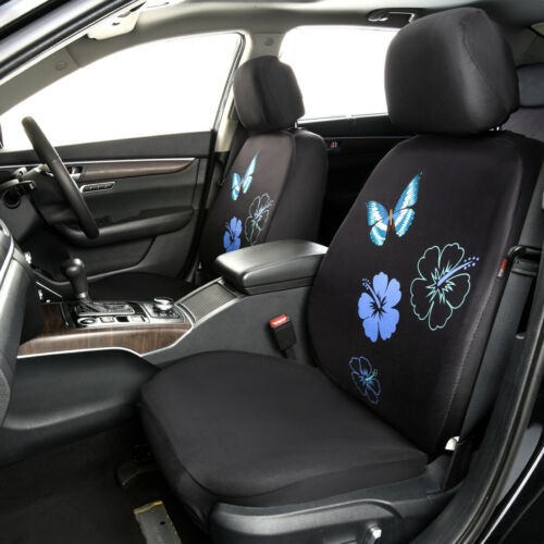 CAR PASS Flower And Butterfly Universal Fit  Car Seat Covers Split Bench Blue