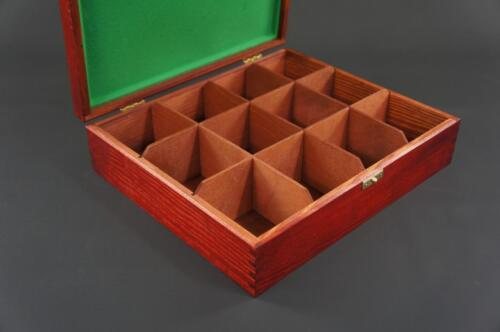 1x Mahogany Wooden Tea Box Tea Caddy Kitchen Chest 12 Compartments H12zf