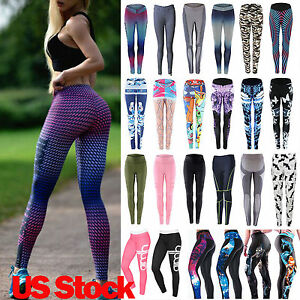 US Womens YOGA Workout Gym Print Sports Pants Leggings Fitness Stretch Trouser
