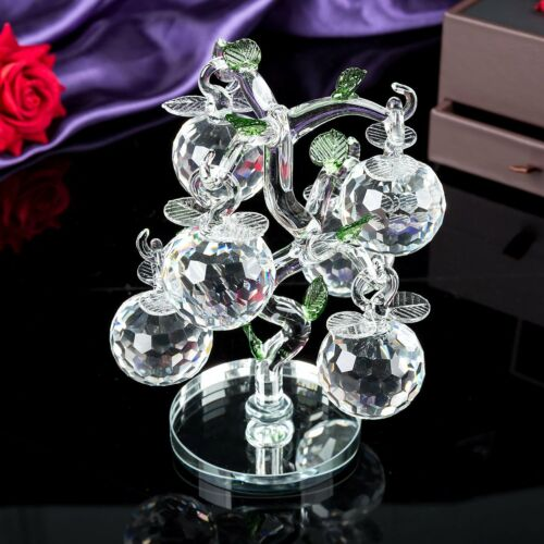 Décoration Verre Cristal Apple Tree 6 Crystal Clear Multicolore pommes Cadeau