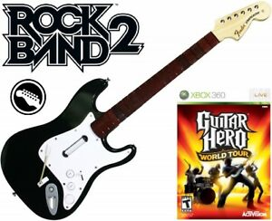 NEW-Xbox-360-Rock-Band-2-Fender-Stratocaster-Guitar-amp-Guitar-Hero-World-Tour