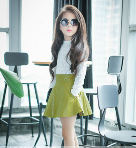 Girl Kid Synthetic Leather Look Punk High waist Rock star Party Fashion Skirt