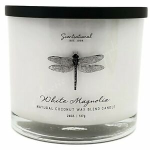 Scentsational-Natural-Coconut-Wax-26oz-Cotton-3-Wick-Candle-Jar-White-Magnolia