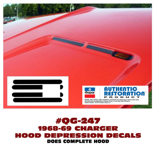 CHOOSE COLOR HOOD DEPRESSION DECAL KIT GE-QG-247 1968-69 DODGE CHARGER