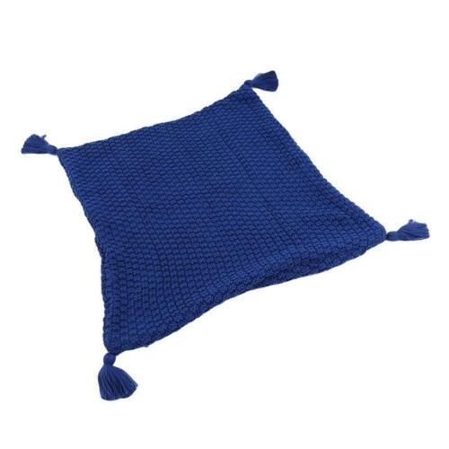Tassel Plain Solid Color Pillow Case Sofa Decor Cushion Cover Soft Decorative JA
