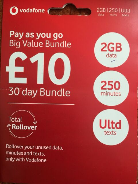 Vodafone Pay as You Go Nano SIM Card for iPhone 5 5s 6 6plus