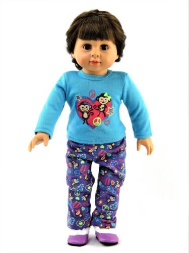 Silly Monkey Pajama Pant Set Fits 18 American Girl Doll Clothes