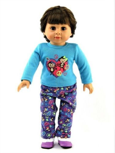 "Silly Monkey Pajama Pant Set Fits 18/"" American Girl Doll Clothes"