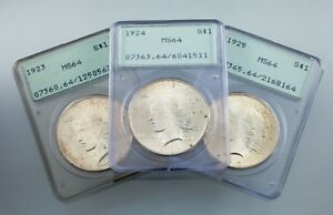 Lot-of-3-PCGS-Peace-Dollars-1923-1925-OGH-MS64-Great-lot