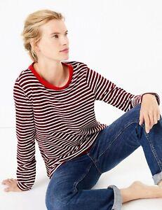 M-amp-S-Rojo-Blanco-con-rayas-de-algodon-manga-larga-Blusa-Camisa-Camiseta-Top-8-10-12-14-16-18