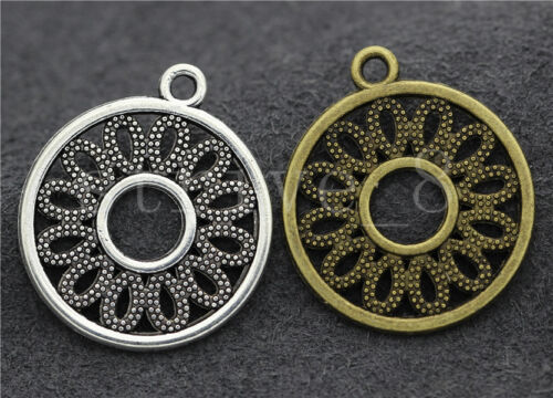 Lot 10//40//200pcs Tibetan Silver Beautiful Circular Jewelry Pendant DIY 24x21mm