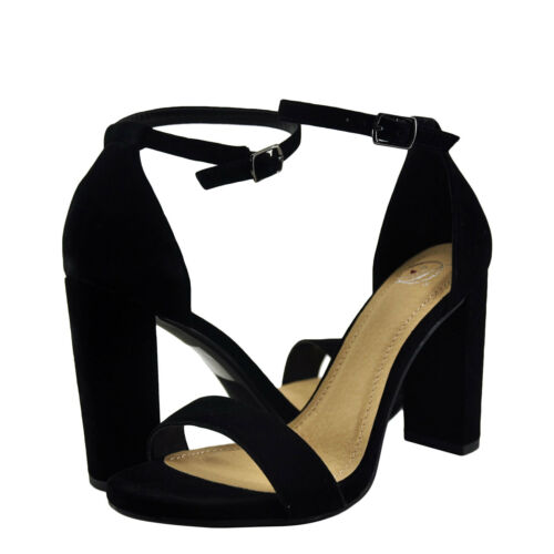 Women/'s Shoes Delicious Shiner Single Banded Open Toe Heel Black  *New*