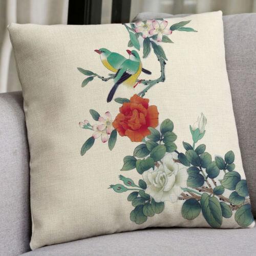 18/'/'  Bird Pattern Cotton Linen Pillow Case Cushion Cover Sofa Home Decor