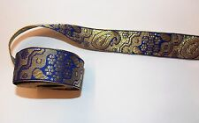 1m 33mm blue gold jacquard embroidered ribbon lace applique motif trim indian