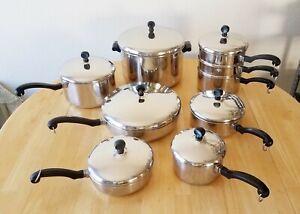 Vintage-FARBERWARE-Aluminum-Clad-Stainless-Steel-16-Piece-Pans-Pots-Skillets-Set