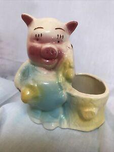 Shawnee Mc Coy ? Vintage Pottery Farmer Pig With Corn Cob Planter Med Century