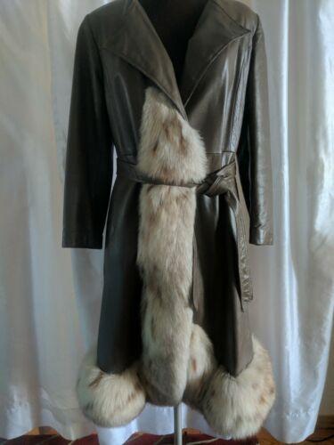 Vintage Designer Sz. 8 Leather Fox Fur Trim Cocoa