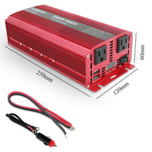 Details About 1500w 3000w Car Van Power Inverter Dc 12v To Ac 110v Converter Camping Trip Usb