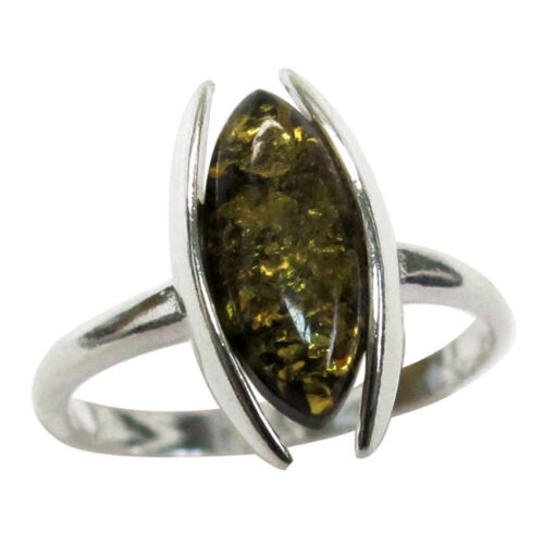 ADORABLE NATURAL GREEN BALTIC AMBER 925 STERLING SILVER RING SIZE 5-10