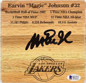湖人魔術師約翰遜正品簽名 6x6 地板親筆簽名 BAS 見證了