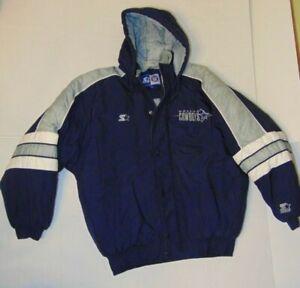 Size-Large-Vintage-Dallas-Cowboys-NFL-Football-Starter-Jacket-Coat-Full-Zip-Up